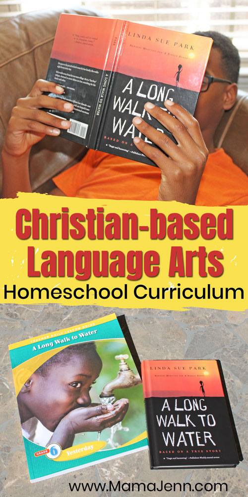 Christian Language Arts teacher lesson guide and a boy reading the book A Long Walk to Water