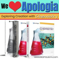 textbook and student notebook with text overlay We {heart} Apologia Exploring Creation with Chemistry