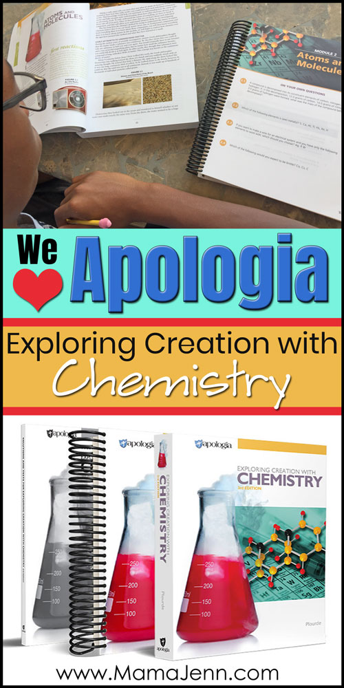Apologia Chemistry textbook, Student Notebook, solutions manual with boy reading textbook and student notebook