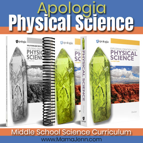 Apologia Physical Science textbook and Student Notebook with text overlay Middle School Science Curriculum