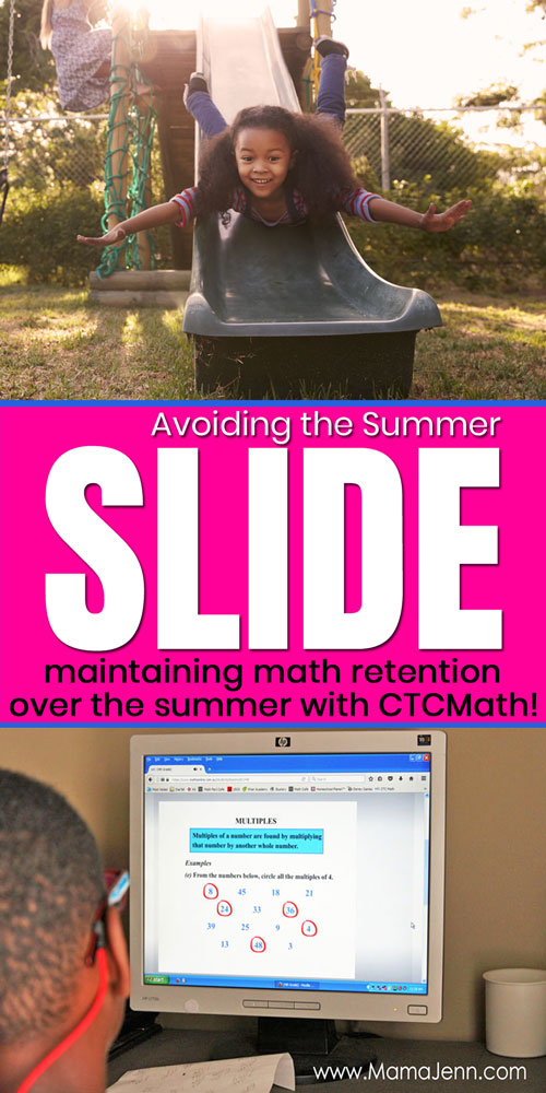 girl on slide and boy doing math with text overlay Avoid the Summer Slide maintaining math retention over the summer with CTCMath