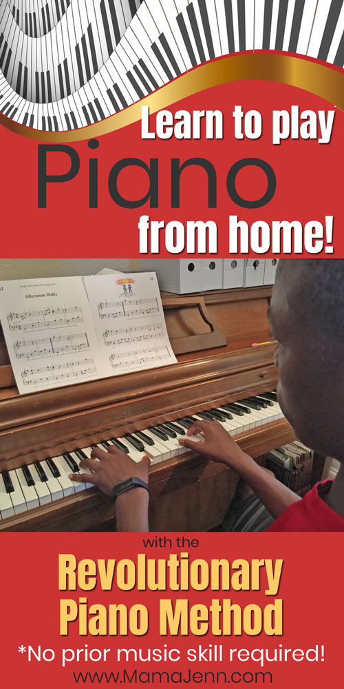 boy playing piano with text overlay Learn to play Piano from home with the Revolutionary Piano Method - No prior music skill required!