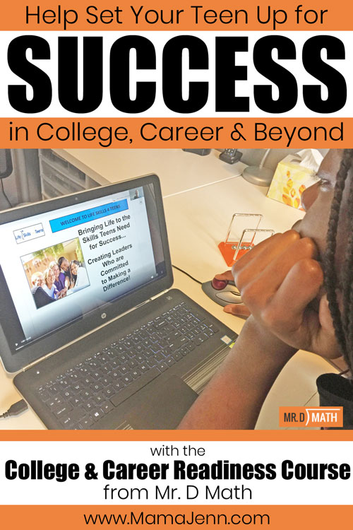 girl looking at computer screen of Mr D Math College & Career Readiness course with text overlay Help Set Your Teen up for Success in College, Career & Beyond