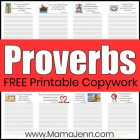 Free Printable Proverbs Bible verse copywork pages