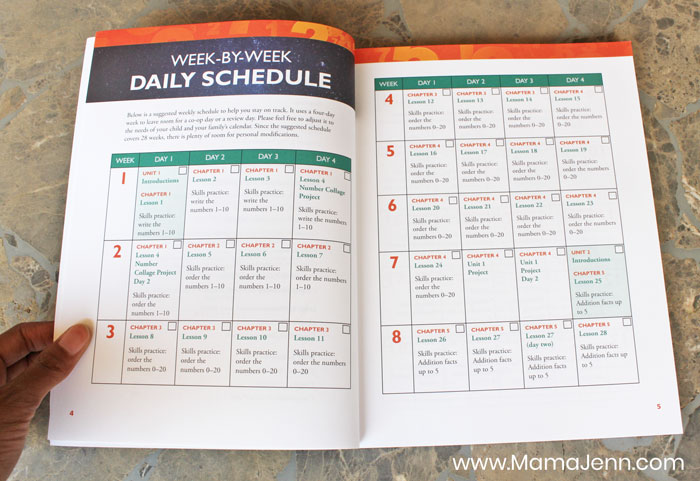 Apologia Exploring Creation with Mathematics Daily Schedule